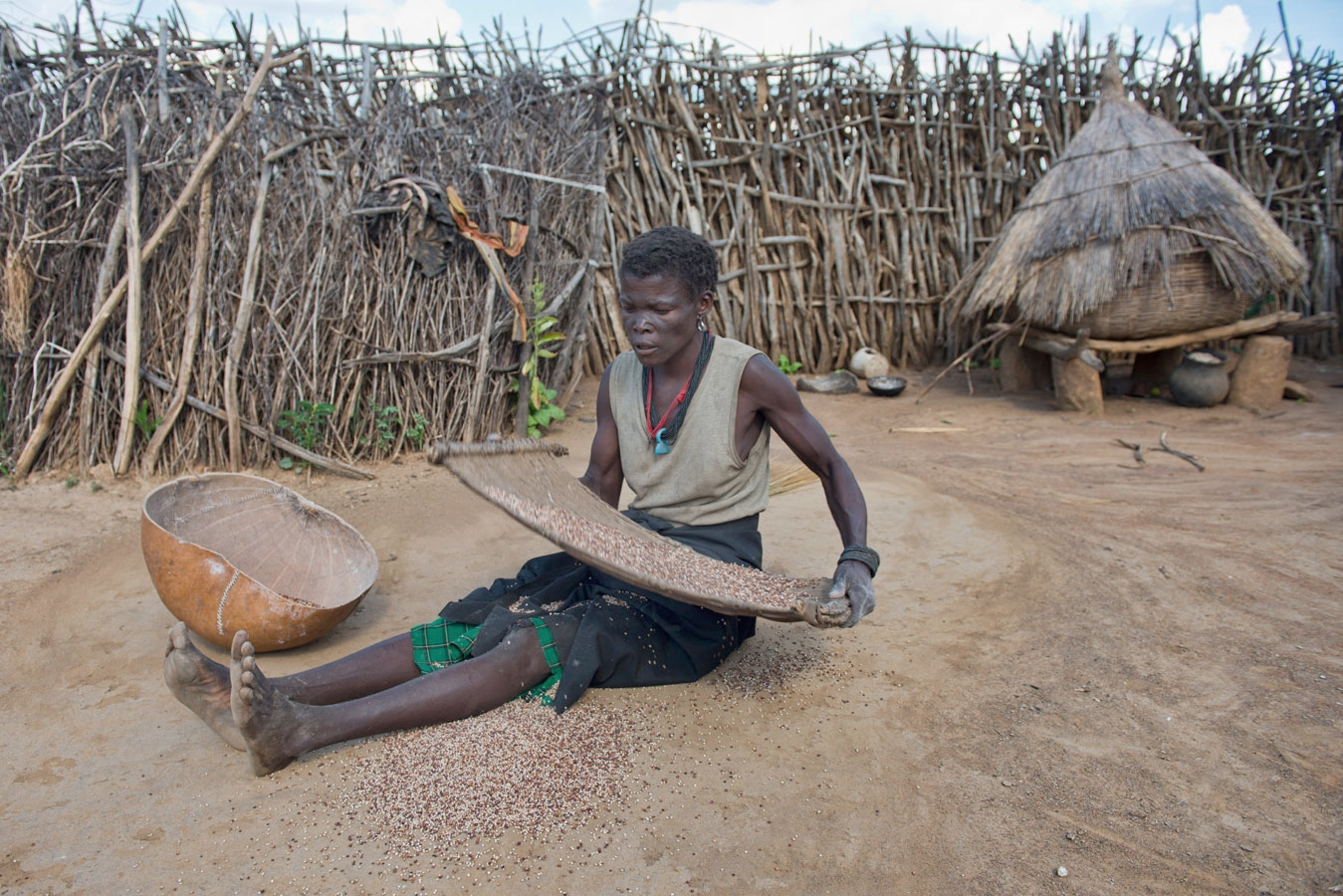 <p>A woman separates chaff from grain in the traditional way in the Karamoja region of northern Uganda.</p>
