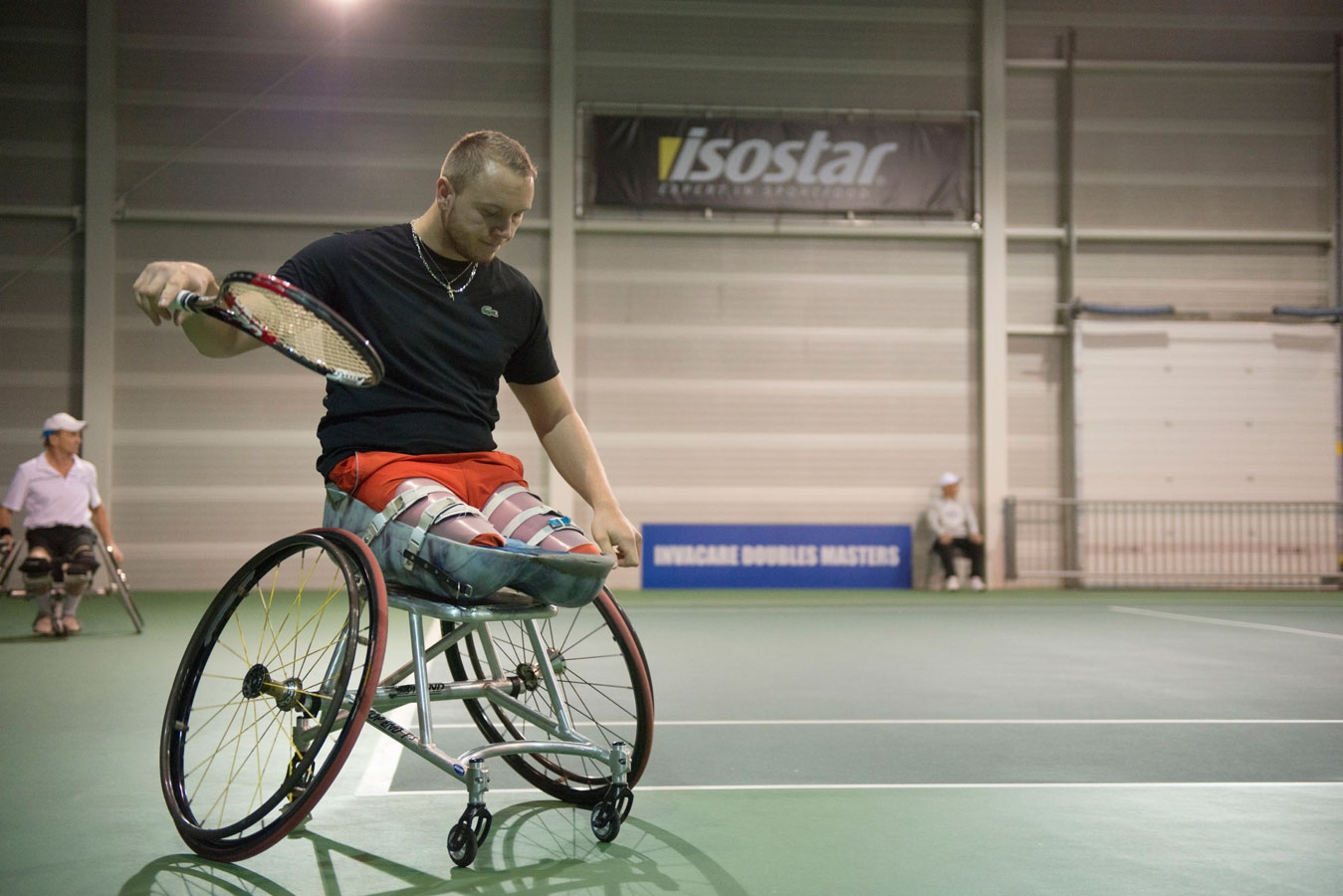 <p>A competitor at the Invacare Doubles Tennis Tournament in Amsterdam, 2012</p>